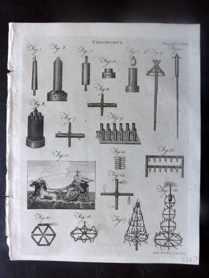 Encyclopaedia Britannica 1797 Antique Print. Pyrotechny. Fireworks 429